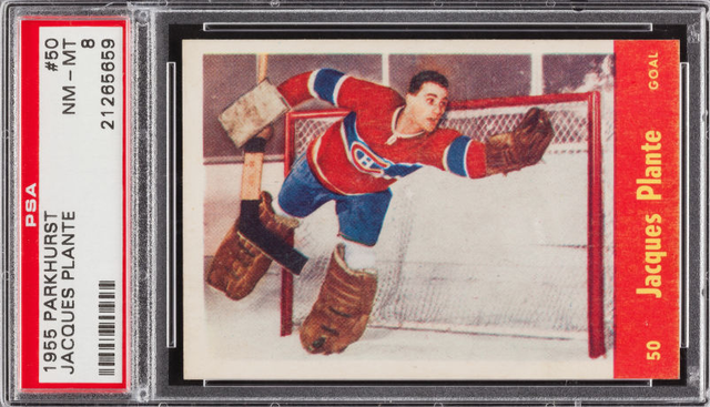 Jacques Plante - Parkhurst Hockey Card #50 - 1955 - PSA 8