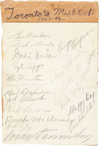 Toronto Maple Leafs Autographs - 1942-43 Season