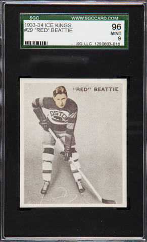 "Red Beattie Hockey Card - #29 - ""Ice Kings"" World Wide Gum  1933"
