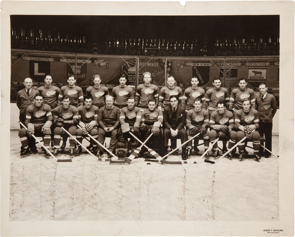 Detroit Red Wings - Stanley Cup Champions -  1936 - Autographed