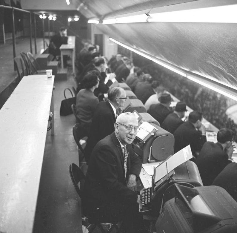 Hockey Reporters at the Olympia Stadium - Detroit - 1950s ...