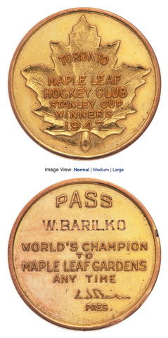 Maple Leaf Gardens Lifetime Gold Pass Presented to Bill Barilko