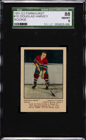 Doug Harvey Hockey Card - No 10 PARKIE - 1951 - SGC 88 NM/MT 8