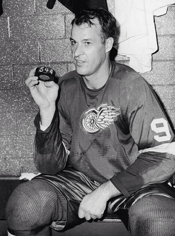 Gordie Howe Holds Puck that Tied NHL Record on October 27, 1963