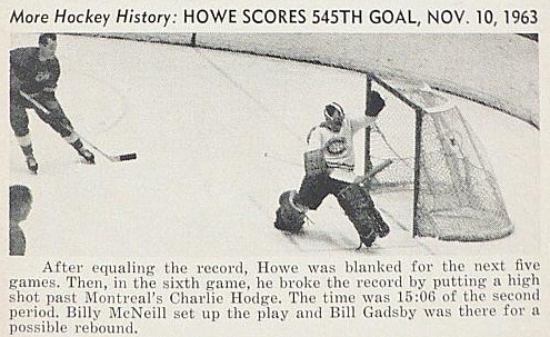 Gordie Howe Scores 545th Goal on November 10, 1963 - NHL Record