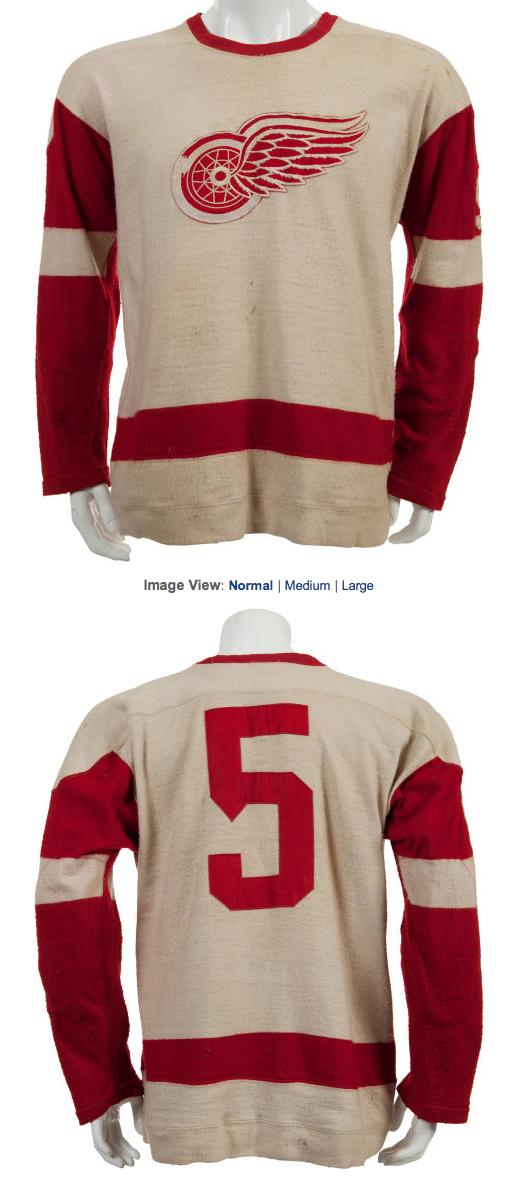 Vintage Detroit Red Wings Jersey Worn by Warren Godfrey in 1957 ... 34d07236a0a