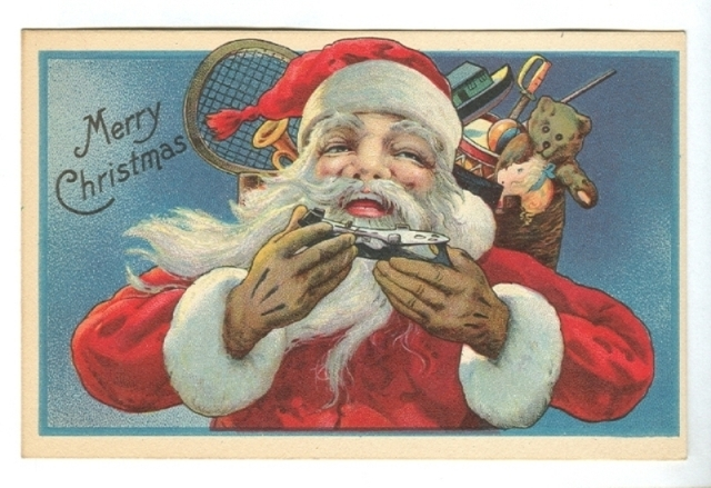 Antique Christmas Card - Santa With Ice Hockey Skate