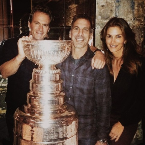 Rande Gerber , Cindy Crawford &  Chris Chelios with Stanley Cup