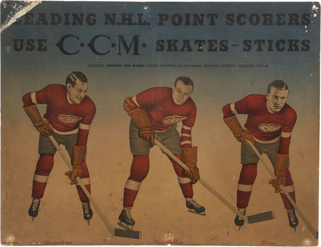 Detroit Red Wings CCM Advertising Broadside - circa 1940-41