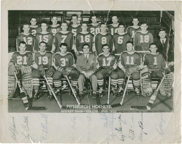 Pittsburgh Hornets Team Photo - 1949-50 - Autographed