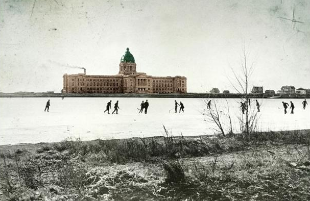 Pond Hockey at Saskatchewan's Legislature Building Wascana Lake
