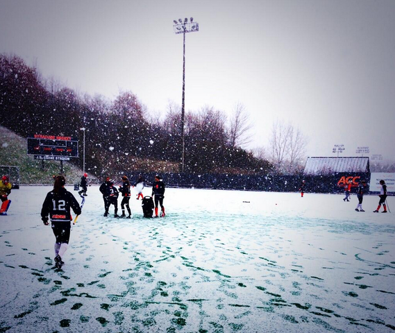 Syracuse Field Hockey Practice in the Snow - November, 2013
