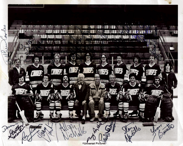 Charlestown Chiefs - Slap Shot Movie Autographed Photo - 1977