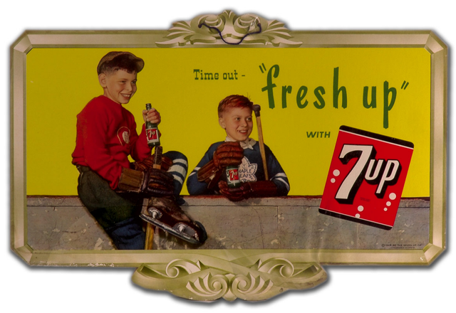 "Vintage 7up Advertising Sign Time Out ""Fresh Up"" with 7up - 1948"