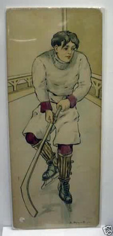 Antique Hockey Art - Watercolor on Board - Early 1900s