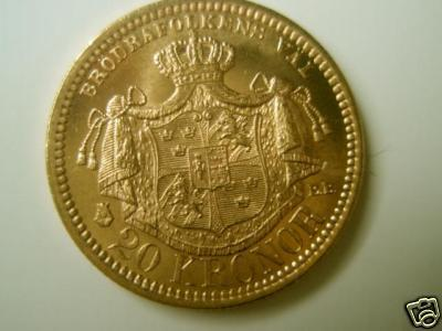 Coin 1885 Gold Sweden 1b