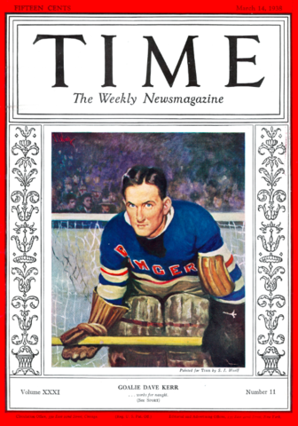 Antique Time Magazine Cover - Dave Kerr - New York Rangers 1938