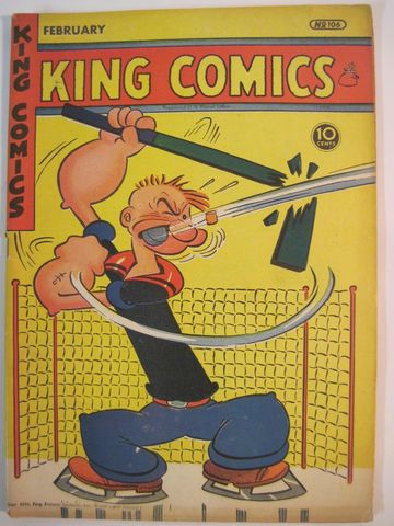 Popeye Ice Hockey Goalie - King Comics No 106 - 1945