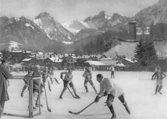 Oxford Canadians Game Action at Chateau d'Oex, Switzerland 1910