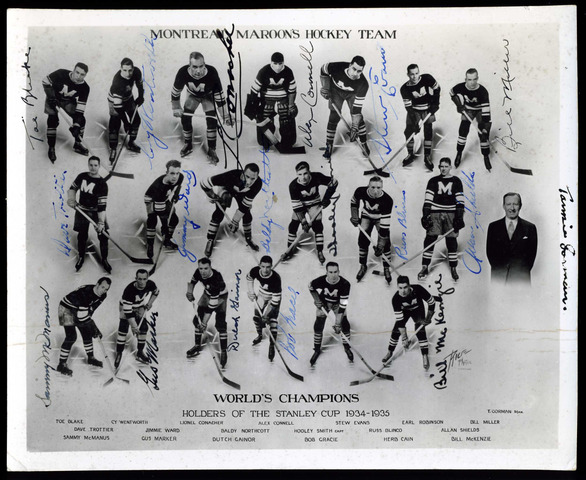 Montreal Maroons Team Autographed Photo 1935 Stanley Cup Champs