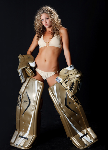 Ice Hockey Goddess Meagan in Goalie Gear - Stopping Everything
