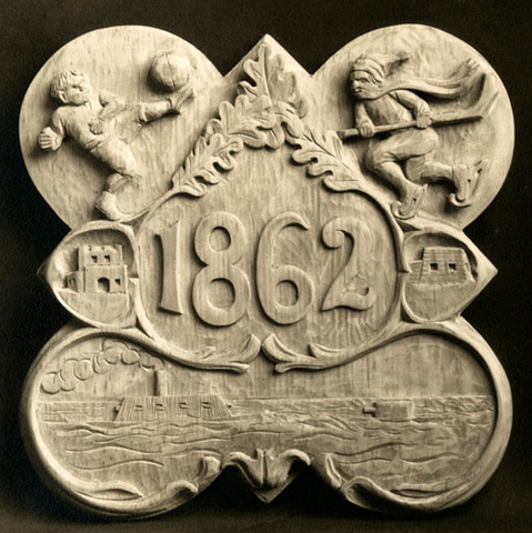 St. Paul's School Form Plaque with Shinny on the ice - 1862