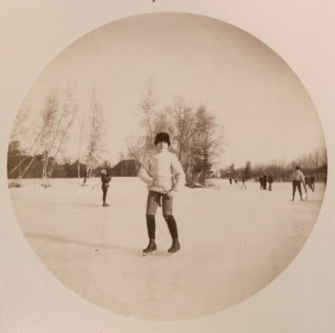 Charlie Harrison at St. Paul's School pond playing Ice Polo 1890