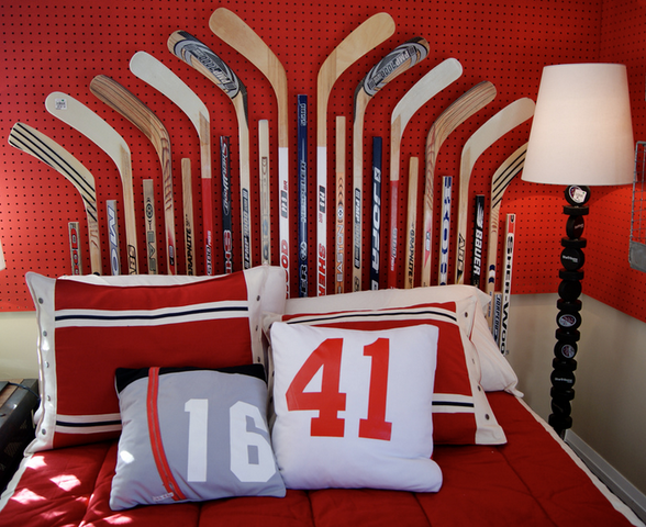 hockey stick headboard  hockey puck lamp  hockey bedroom, Headboard designs