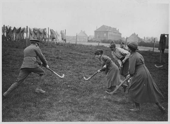 Women's Army Auxiliary Corps Playing Field Hockey vs Men - 1918