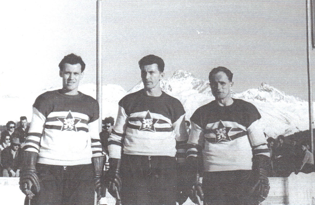 Czechoslovakia Ice Hockey players @ 1956 Cortina Winter Olympics