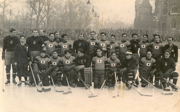 Hungarian & Japan Ice Hockey Teams at Budapest, Hungary 1936