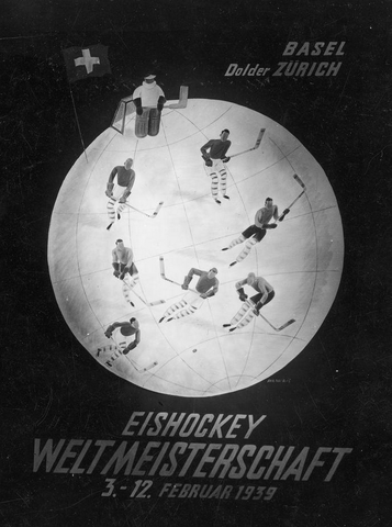 Ice Hockey Poster for World Championships in Switzerland 1939