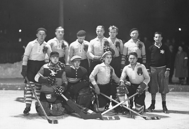 Antique Ice Hockey Team from Krakow, Poland - 1931