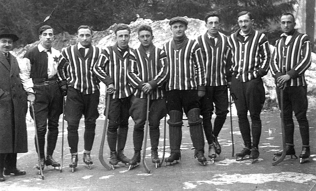 Antique Bandy Team in Košice, Czechoslovakia - 1920s