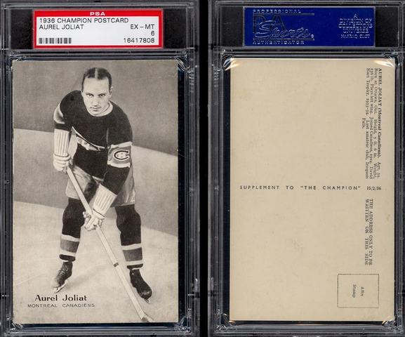 Aurèle Émile Joliat - Montreal Canadiens 1936 Champion Postcards