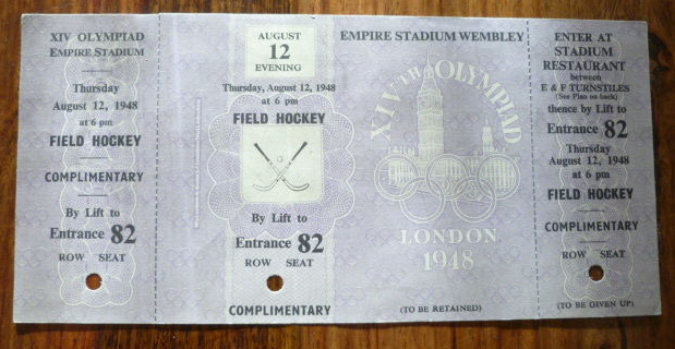 1948 Summer Olympics Field Hockey Ticket  Empire Stadium Wembley