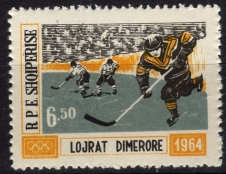 1964 Innsbruck Winter Olympics Ice Hockey Stamp from Albania