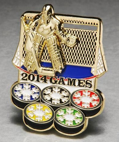 2014 Sochi Olympic Slider Lapel Pin - Ice Hockey Goalie