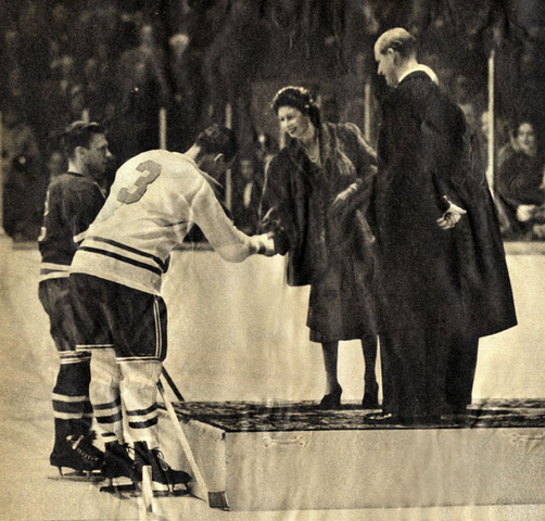 Montreal Canadiens Butch Bouchard is presented to Princess Elizabeth 1951