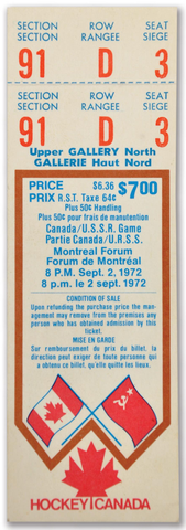 1972 Summit Series Game 1 Ticket Canada vs USSR - Montreal Forum