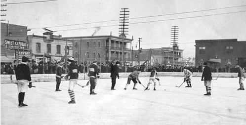 Calgary YMCA Ice Hockey Rink - Game Action - circa 1911