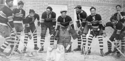 Old Sun Indian Residential School Hockey Team in Alberta 1936