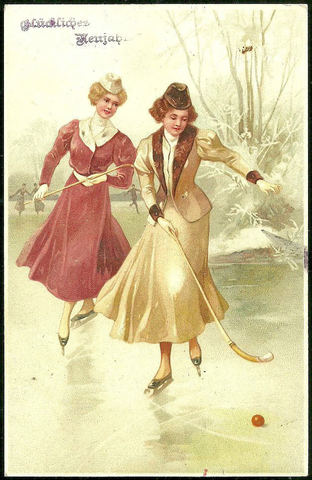 Antique Meissner & Buch Postcard - Ladies Playing Hockey - 1910