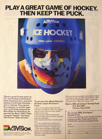 Activision Ice Hockey Video Game Ad For Atari 2600 1983 Hockeygods