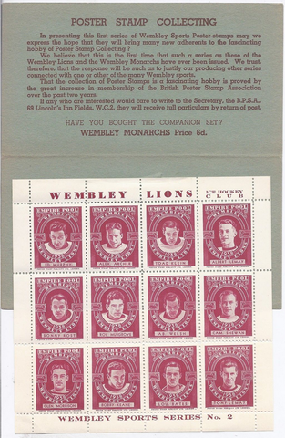 Wembley Lions Poster Stamps 1938