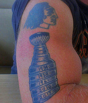 Stanley Cup Tattoo on the arm of Russell Pedersen - 2013