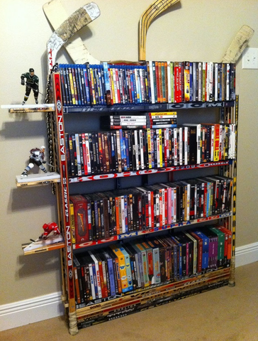 Hockey Stick Bookcase holding all your favourite Hockey Movies