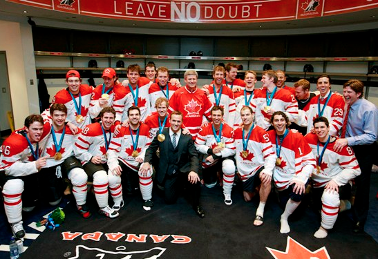 Canadian Prime Minister Stephen Harper with Team Canada 2010