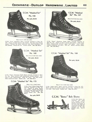 Antique CCM Ice Hockey Skates Ad 1939