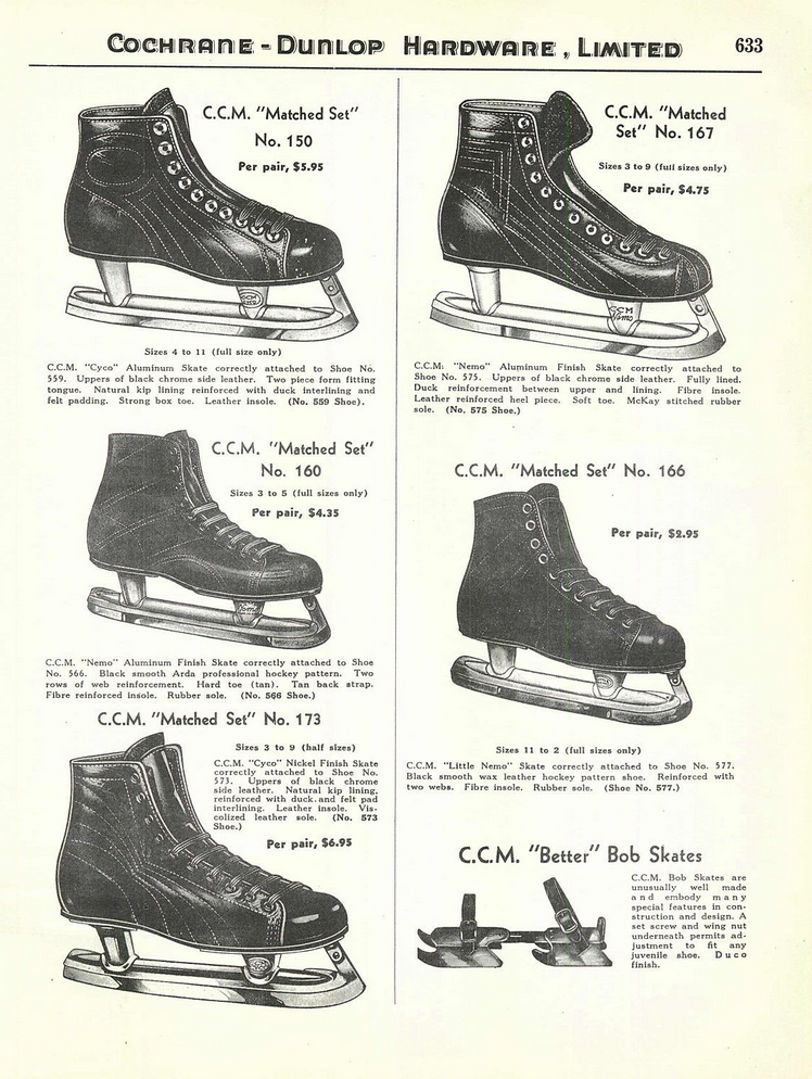 0d5df34fb Antique CCM Ice Hockey Skates Ad 1939